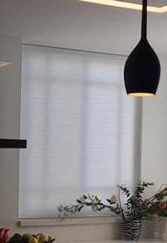 Low-Cost Pleated Shades, Fountain Valley Kitchen