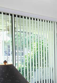 Cream Colored Vertical Blinds Installed In Newport Beach